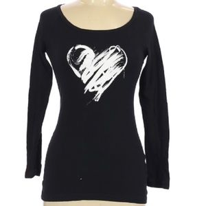 Norma Kamali black white heart long sleeve T-shirt